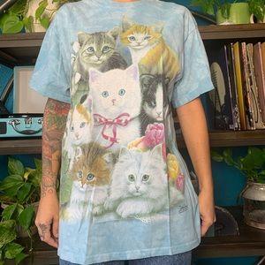 Vintage The Mountain blue kitten tee shirt